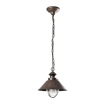 1 Light Small Outdoor Ceiling Pendant Light Clear, Rust Brown, E27