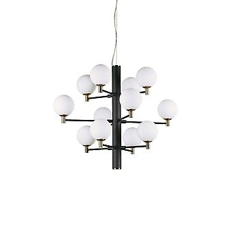 ideell lux copernico - 12 lys multi arm tak anheng lys svart, G9