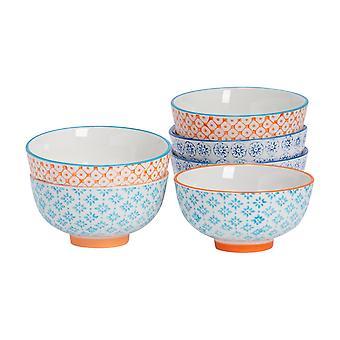 Nicola Spring 6 Piece Hand-Printed Rice Bowl Set - Japanese Style Porcelain - 3 Colours - 12cm