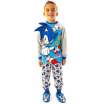Pigiama Sonic The Hedgehog for Boys | Carattere bambino Blue & Grey PJs | Gioco Sonic T-Shirt & Pantaloni Merchandise Regali
