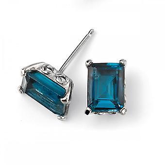 Elementen gouden elementen 9ct witgoud Londen Blue Topaz Stud Earring met galerij detail GE2082T