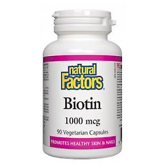 العوامل الطبيعية البيوتين، 1000 ميكروغرام، 90 قبعات الخضار