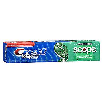 Crest Complete Multi-Benefit Whitening + Scope Fluoride Toothpaste Minty Fresh Striped, 5.4 Oz