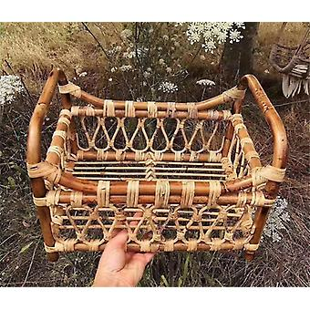 Baby Props Vintage Woven Rattan Basket