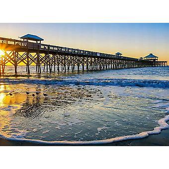 Tapet väggmålning Folly Pier Winter Sunrise