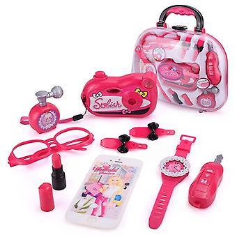 Girls Make Up Toy Set Simulation Handle Box, Pretend Cosmetic Toys Makeup