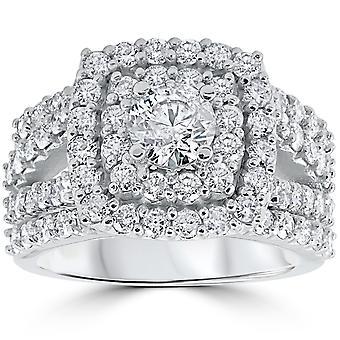 3 ct Diamante Fidanzamento Matrimonio Cuscino Halo Anello Set 10k Oro Bianco