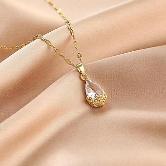 Cadena de collar chapado en oro con regalo de gota de diamante