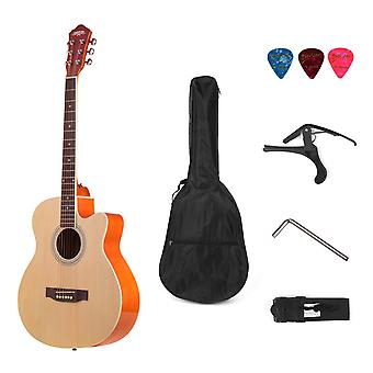 Acoustic Folk Guitar, 6-strings Basswood With Strap Gig Bag, Capo Picks