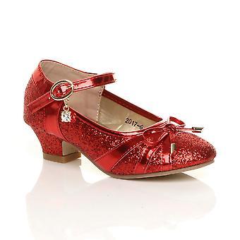 Ajvani девочек низкий каблук Диаманте лук Мэри Джейн обувь суда блеск