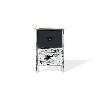 Rebecca Kleine Nachttisch 2 Schubladen weiß grau Rücken 42x28x28