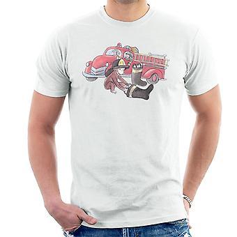 Curious George Balloon Fire Department Truck Men's T-Shirt