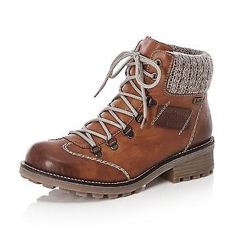 Rieker Z0444-24 Swetlana Riekertex Winter Boots With Knitted Collar In Tan