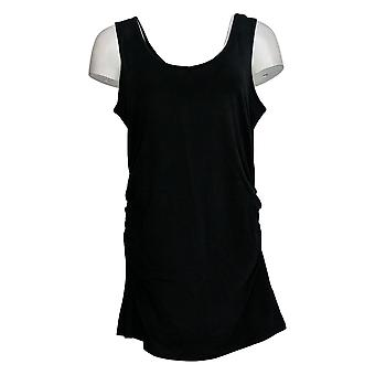 All Worthy Women's Top Long Tank W/ Side Ruching Black A377966