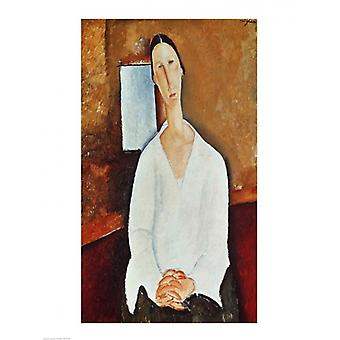 Madame Zborowska with Clasped Hands c1917 Poster Print by Amedeo Modigliani