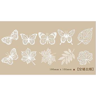 Artesanato de papel de renda oco, flor borboleta branca - decoração de renda da janela