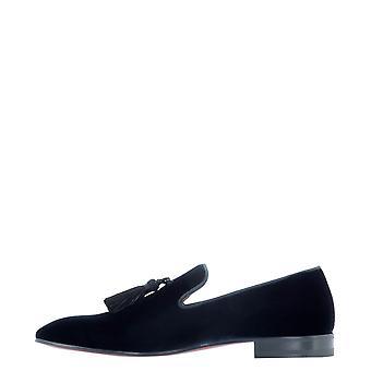 Christian Louboutin 1180398bl1u Men's Blue Velvet Loafers