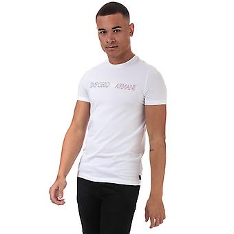 Men's Armani Line Logo T-Shirt in White