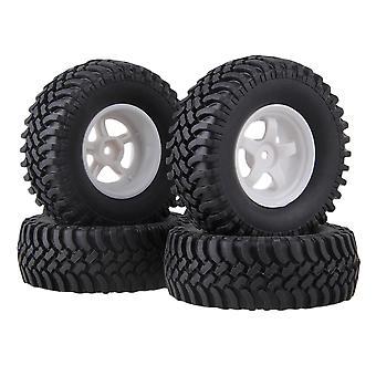 4pcs RC1:10 Rock Crawler White Plastic 5Spoke Wheel Rim Simulation Rubber Tyre