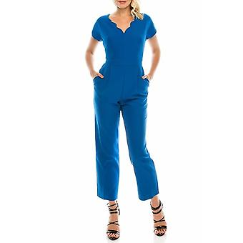 Jumpsuit With Scalloped V Neckline