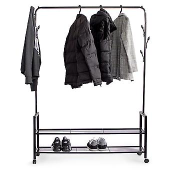 Stojak na ubrania - 128x32x165 cm - czarny