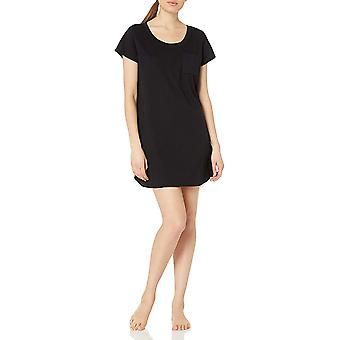 Brand - Mae Women's Sleepwear Pocket Nightgown, Black, S