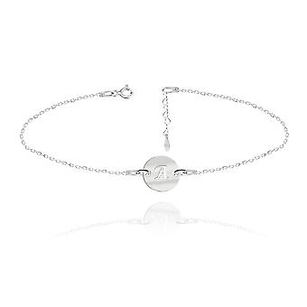 Ah! Jewellery Highly Polished Sterling Silver Engraved Initial Bracelet, 3cm Heart Extension Included