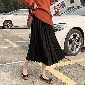 Mujeres Otoño Invierno Señoras Coreana Alta Cintura Escuela Falda Larga