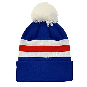 fan originals Retro Football Knitted Hat in Rangers Colours Blue White Red