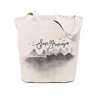 San Francisco Cityscape Cotton Canvas Tote Bag