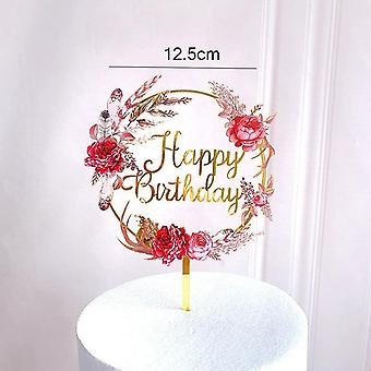 New Happy Birthday Cake Topper Rose Gold Heart Acrylic Party Decorations Baby