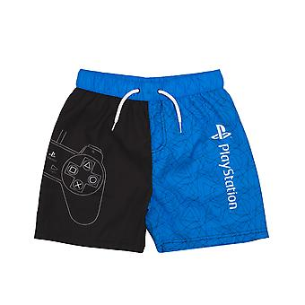 PlayStation Swim Shorts For Boys | Gamer Swimming Pants Trunks With Drawstring Waistband | Black & Blue Controller Swimwear Kids & Teens