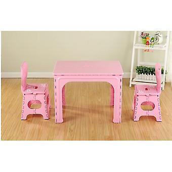 子供とアポスのテーブル。幼稚園プラスチック折りたたみテーブルと椅子セット。