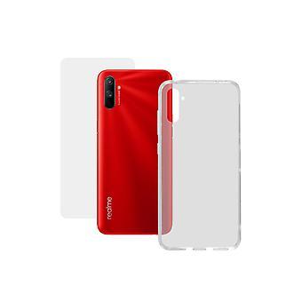 Karkaistu lasi mobiili näytönsuoja + mobiilikotelo Realme C3 Yhteystiedot 9H Läpinäkyvä