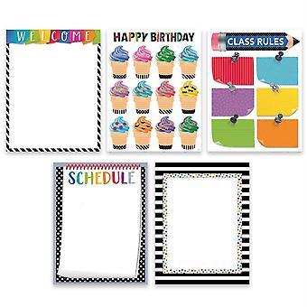 Paquete bold & bright classroom essentials de 5 gráficos