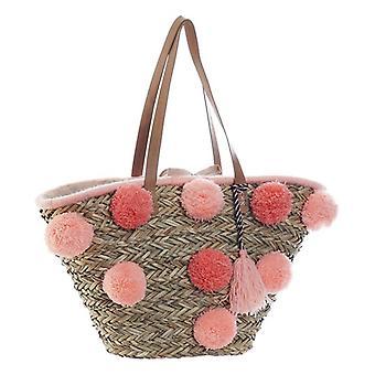 Tasche DKD Home Decor Pink Coral Pompons