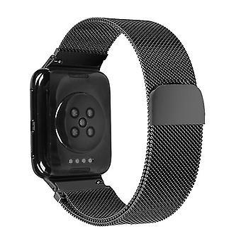 Für OPPO Uhr 46MM Smart Watch Milanese Edelstahl Metallarmband (Schwarz)