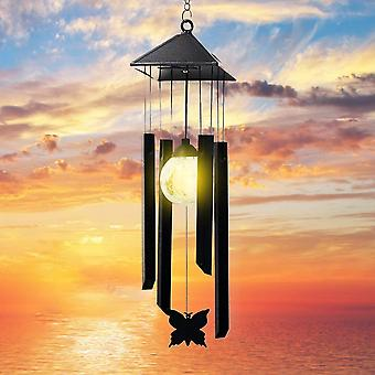 Solar Wind Chimes for Outside with LED Bulb 4 Tubes Beautiful Butterfly Deep Tone Sympathy