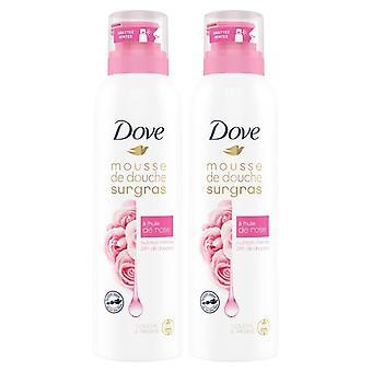 2 confezione di doccia colomba da 200 ml e mousse di shave rose shover con olio di rosa