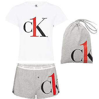 كالفن كلاين المرأة CK واحد تي شيرت / قصيرة PJ مجموعة، أبيض / رمادي، X-كبيرة