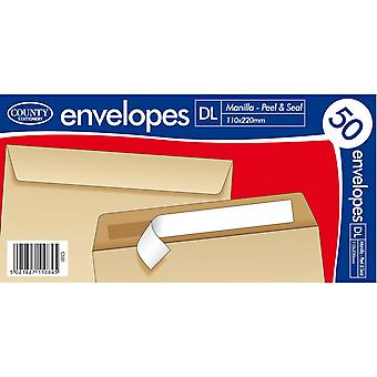 County Stationery Self Seal Manilla Envelope (Pack of 50)