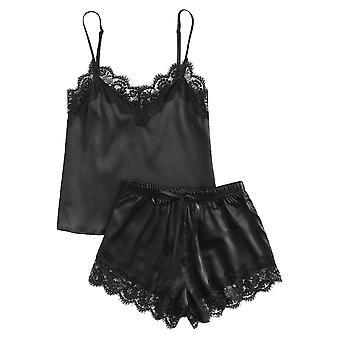 Zwarte Kant Satijnen Cami Top And Shorts Sleepwear Pyjama Set