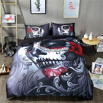 Skull Bedding Duvet Cover Set Double 3D Floral Beauty Skull Printed Bedding Quilt Cover with Zipper