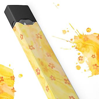 Cute Watercolor Flowers Over Yellow - Premium Decal Protective