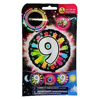 Aluminium ballon nummer 9 veelkleurige LED Illooms® 50 cm
