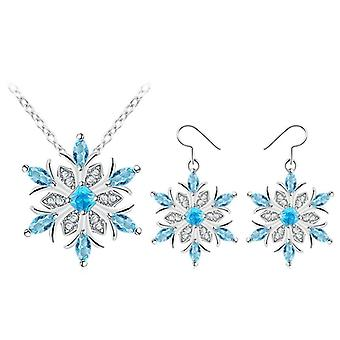 Summer Fashion Snowflake, Crystal Necklace, Women Jewelry Set, Wedding Flower