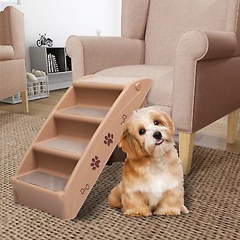 vidaXL الكلب الدرج قابل للطي براون 62x40x49,5 سم
