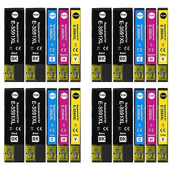 4 Set di 4 cartucce di inchiostro nero extra per sostituire Epson T3596 -3591 (serie 35XL) Compatibile/non OEM da Go Inks (20 inchiostri)