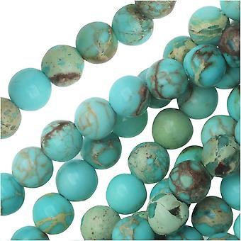 Dakota Stones Gemstone Beads, Dyed Aqua Impression Jasper, Round 4mm, 8 Inch Strand