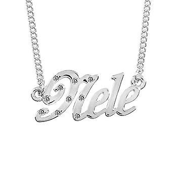 """L Nele - 18-karat hvid forgyldt halskæde, med brugerdefineret navn, justerbar kæde af 16 """"- 19"""", i Regal Packaging"""